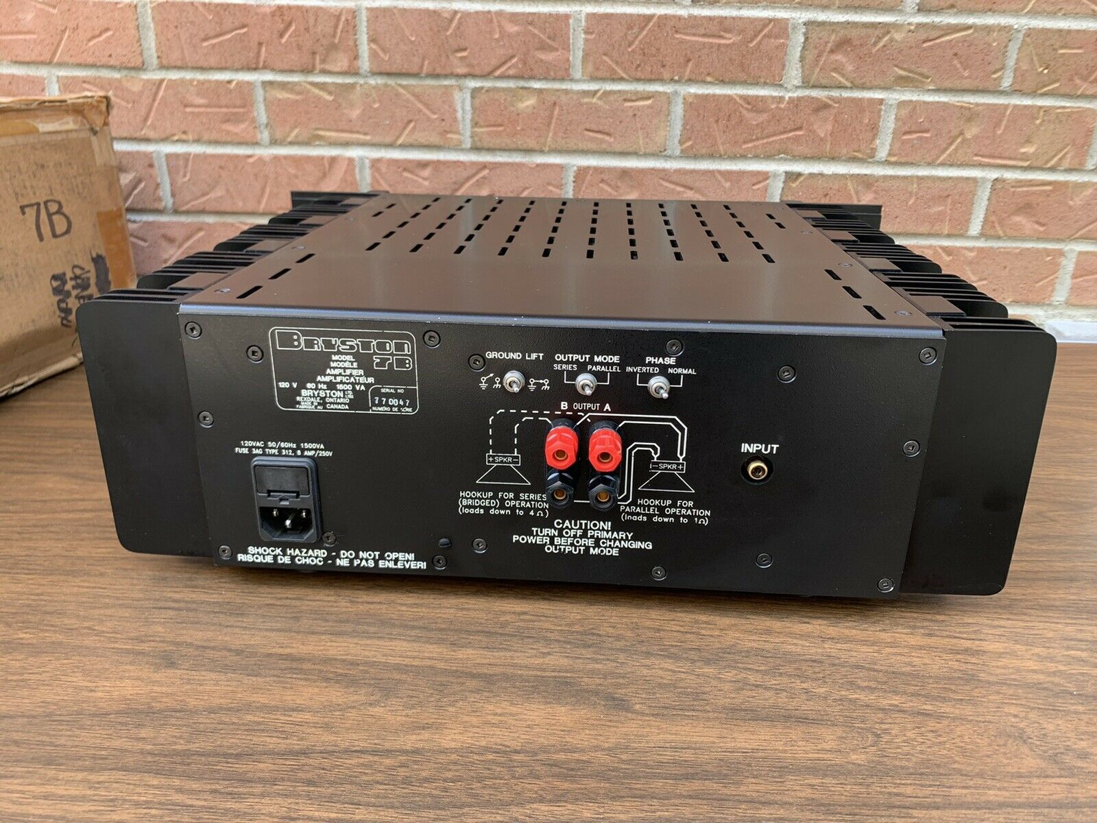 Bryston 7B Monoblock Power Amp Amplifier, 1 input W- Original Box Mint Condition10